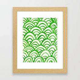 Handpainted Scallops Mermaid Scales Green Framed Art Print
