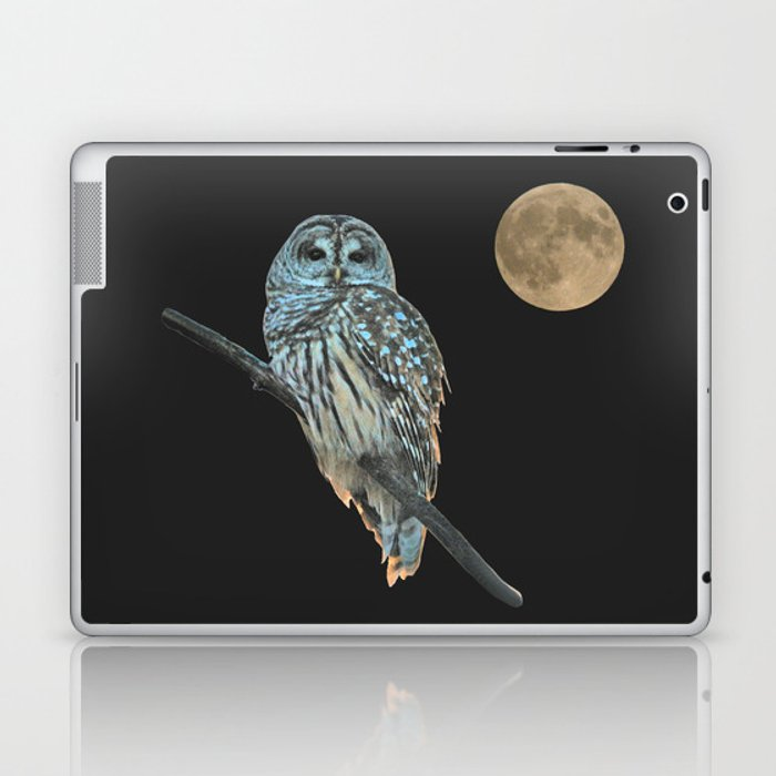 Owl, See the Moon (sq Barred Owl) Laptop & iPad Skin