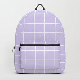 Lavender white minimalist grid pattern Backpack