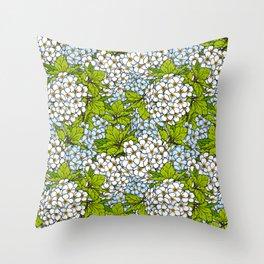 White Spirea Blossoms & Leaves Throw Pillow