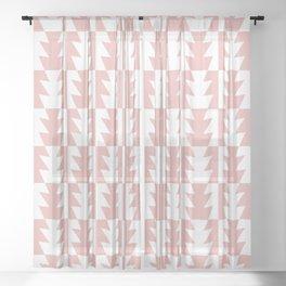 Art Deco Jagged Edge Pattern Dusty Rose Sheer Curtain