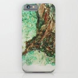 Tree Trunk Watercolor Monoprint iPhone Case