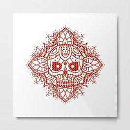 Angry Skull Mandala Metal Print