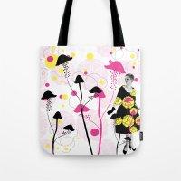 mushroom Tote Bags featuring Mushroom by Emilie Ramon
