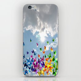 Butterflies in blue sky iPhone Skin
