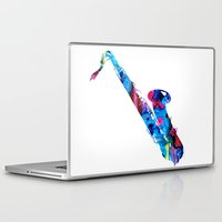 saxophone Laptop & iPad Skins featuring Colorful Saxophone by Sharon Cummings by Sharon Cummings