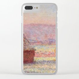 White Frost, Sunrise by Claude Monet Clear iPhone Case