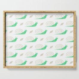 Cute modern pastel green brown watercolor snails pattern Serving Tray