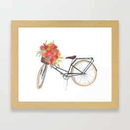 Summertime Floral Bicycle Framed Art Print