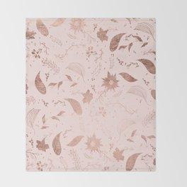 Modern rose gold gold foil blush pink floral pattern illustration Throw Blanket