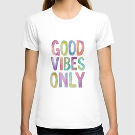 Good Vibes Only Watercolor Rainbow Typography Poster Inspirational childrens room nursery T-shirt