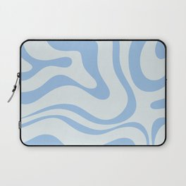 Soft Liquid Swirl Abstract Pattern Square in Powder Blue Laptop Sleeve