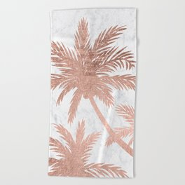 Tropical simple rose gold palm trees white marble Beach Towel