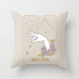 Aquarius Zodiac Sign Throw Pillow