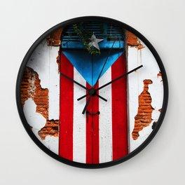 PUERTO RICO FLAG DOOR Wall Clock