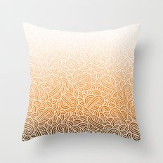 Ombre orange and white swirls doodles Throw Pillow