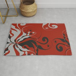 Abstract Red, Black and Gray Design Rug