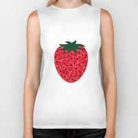 strawberry Biker Tanks featuring Strawberry by Dpat Designs