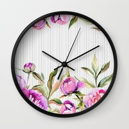 Elegant hand painted pink purple gray watercolor stripes floral Wall Clock
