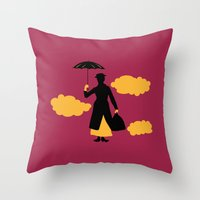 mary poppins Throw Pillows featuring Mary Poppins by FilmsQuiz