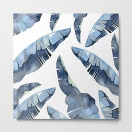 Banana Leaves 2 Blue Metal Print