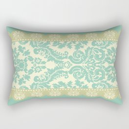 Ornamental Renaissance Border Design Acqua  Rectangular Pillow