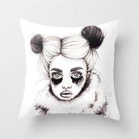 red panda Throw Pillows featuring Panda by Nora Bisi