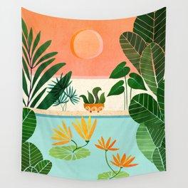 Shangri La Sunset / Exotic Landscape Illustration Wall Tapestry