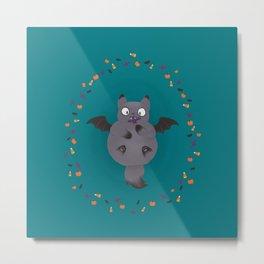 Happy Meowloween - Batcat Metal Print