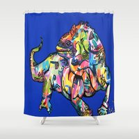 iggy Shower Curtains featuring Sunset Park Iggy by The Art of Murjani Holmes