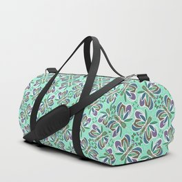 Field of Aqua Turquoise  Butterflies , Purple Wings Patterns in Geometric Formation with Flowers Duffle Bag