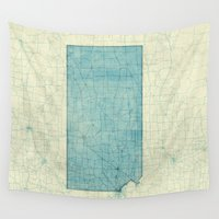 kansas Wall Tapestries featuring Kansas State Map Blue Vintage by City Art Posters