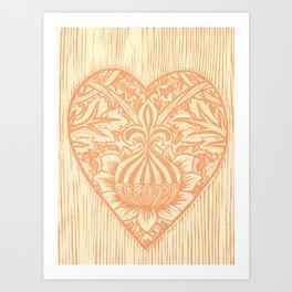Peach Fleur de Lis Heart Art Print