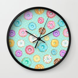 Scattered Rainbow Donuts on spotty mint - repeat pattern Wall Clock