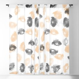 Black gray coral watercolor abstract brushtrokes Blackout Curtain