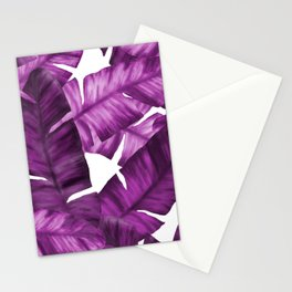 Pink Tropical Banana Leaves Pattern Stationery Cards