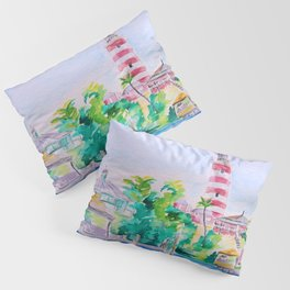 Elbow Reef Lighthouse Hope Town, Abaco, Bahamas Watercolor painting Pillow Sham