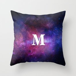 Monogrammed Logo Letter M Initial Space Blue Violet Nebulaes Throw Pillow
