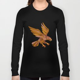 Peregrine Falcon Swooping Low Polygon Long Sleeve T-shirt