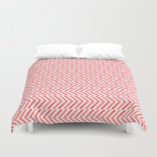Red Geometric Watercolor Pattern Duvet Cover