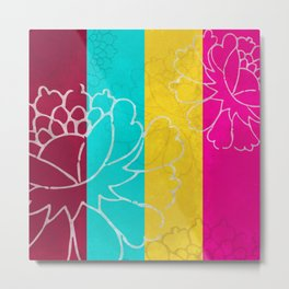 Chinese Flowers & Stripes - Pink Yellow Cyan Red Metal Print
