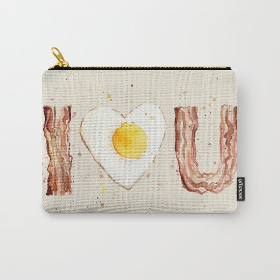 Bacon and Egg I love You Breakfast Food I heart Carry-All Pouch