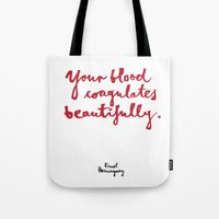 blood Tote Bags featuring Blood-white by Kamoli Design