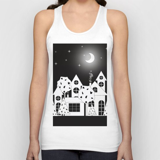Fabulous houses, trees against the night sky. Unisex Tank Top