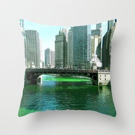 Chicago River on St. Patrick's Day #Chicago Throw Pillow