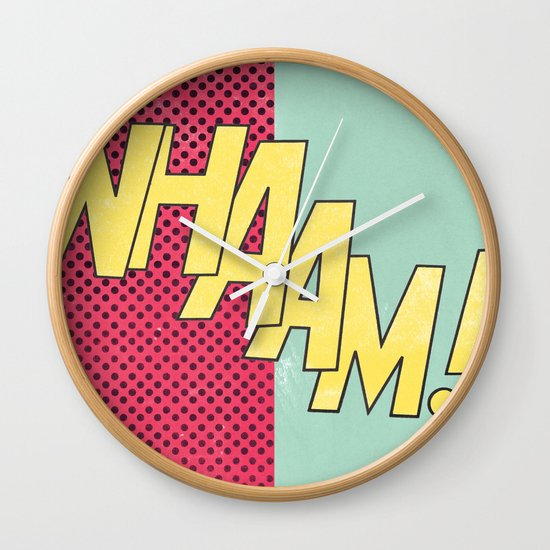 Wall Clock Art pop art wall clockklaff design | society6