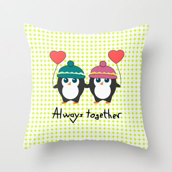 Cute Throw Pillow Society6 : Cute penguins always together Throw Pillow by CocoDes Society6