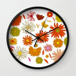 Painted colorful flowers Wall Clock