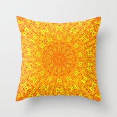 Yellow Earth Mandala Throw Pillow
