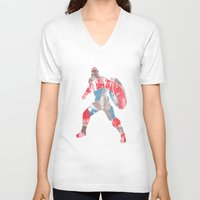 steve rogers V-neck T-shirts featuring Steve Rogers (CA) - Black Background by MajesticSeahawk Designs